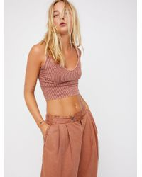 Free People - Multicolor Washed Seamless Crop By Intimately - Lyst