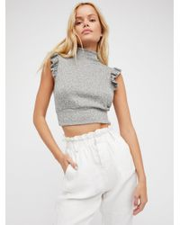 Free People - Gray The Betsey Crop - Lyst