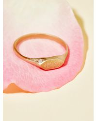 Free People - Multicolor 14k Pave Diamond Signet Ring - Lyst