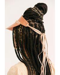 Free People Natural Curi Braided Leather Visor