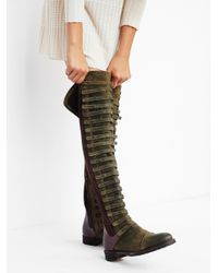 Free People - Green Black Forest Suede And Leather Over-The-Knee Boots - Lyst