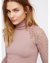 Free People - Pink Rib And Lace Polo Neck - Lyst