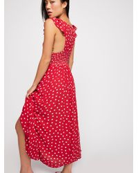 Free People - Red Chambray Butterflies Midi Dress - Lyst