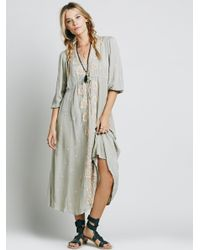 Free People - Green Embroidered Fable Dress - Lyst