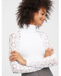 Free People - Multicolor Rib And Lace Polo Neck - Lyst