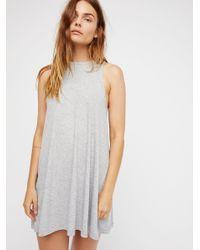Free People | Gray Mock Me Mini Dress | Lyst