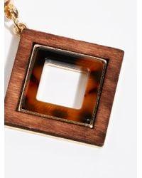Free People - Brown Diamond Wood Earring - Lyst