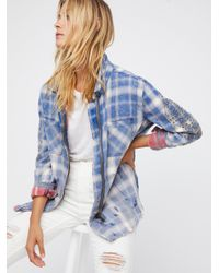Free People | Blue Deconstructed Shirt Jacket | Lyst