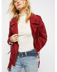 Free People Red Nina Embellished Belt