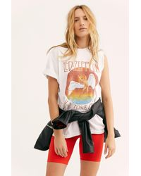 Free People - White Distressed Led Zeppelin Tee - Lyst