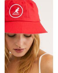 Free People Red Kangol Cotton Bucket Hat