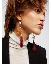 Free People | Metallic Alameda Stone Tassel Earrings | Lyst