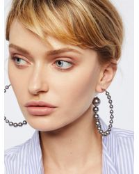 Free People - Metallic Graduated Pearl Hoops - Lyst