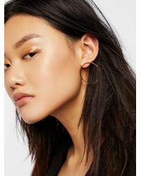 Free People | Black Basic Babe Front Hoops | Lyst