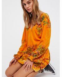 Free People Orange Misha Burnout Velvet Mini Dress