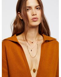 Free People - Brown Semiprecious Stone Coin Necklace - Lyst