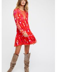 Free People Red Clothes Dresses Hearts Are Wild Mini Dress