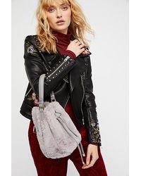 Free People Gray Faux Fur Bucket Bag