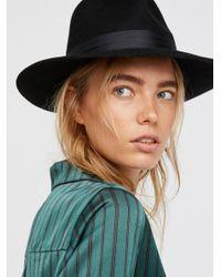 Free People Black Nico Silk Band Felt Hat