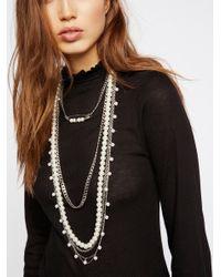 Free People Metallic Cydney Pearls Layered Necklace