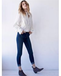 Free People - Blue High Rise Roller Skinny - Lyst