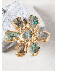 Free People Green Dried Wildflower Stone Ring