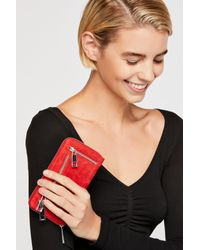 Free People - Red Ora Washed Leather Zip Wallet By Nunoo - Lyst