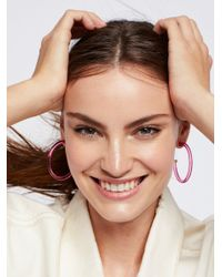 Free People - Pink Lucite Tube Hoops - Lyst