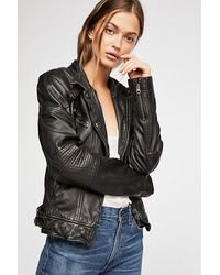 Free People Black Fitted And Rugged Leather Jacket