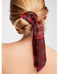 Free People Red Made Ya Look Scarf Pony