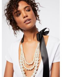 Free People Black Accessories Jewelry Necklaces Layered Pearl X Bow Necklace
