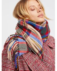 Free People | Multicolor Accessories Scarves Evie Plaid Fringe Scarf | Lyst