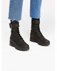 Free People - Black Harley Lace-up Boot - Lyst