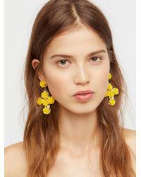 Free People - Yellow Rose Cross Statement Earrings - Lyst