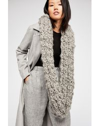 Free People - Gray Dreamland Chunky Knit Cowl Scarf - Lyst