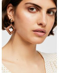Free People - Brown Diamond Wood Earring - Lyst