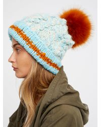 Free People - Multicolor Happy Trails Stripe Pom Beanie - Lyst