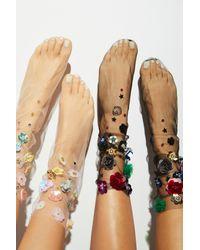 Free People - Black Floral Tulle Anklet - Lyst