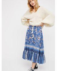 Free People Blue Zahara Midi Skirt