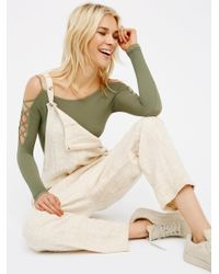Free People Green Lace Up Sides Layering Top