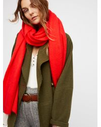 Free People - Red Kennedy Waffle Knit Scarf - Lyst
