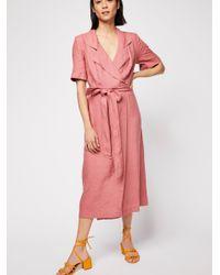 9172cb751b Free People Klara Wrap Midi Dress in Pink - Lyst