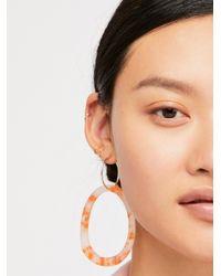 Free People Metallic Marbella Resin Hoop Earrings