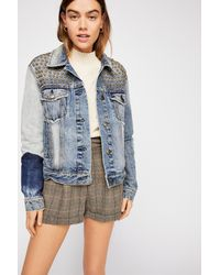 Free People - Blue Patchwork Denim Jacket - Lyst