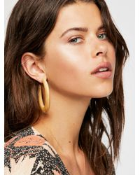 Free People - Natural Wooden Hoop Earrings - Lyst