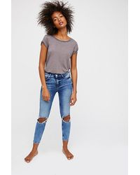 Free People Blue Clothes Jeans High Rise Jeans High Rise Busted Skinny