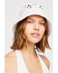 Free People White Quinn Crochet Straw Bucket Hat