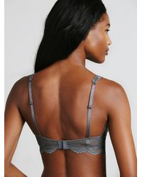 Free People Gray Lace Plunge Underwire