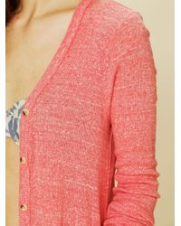 Free People - Pink Ribbed Up Maxi Cardigan By Fp Beach - Lyst