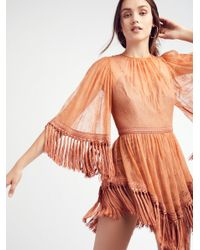 Free People - Orange Are You Ready Girl Mini Dress - Lyst